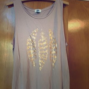 Mauve / dusty rose and gold feather old navy tank